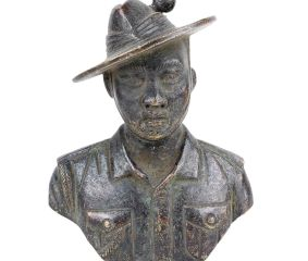 Brass Solider Bust With Uniform and Hat