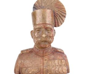 Brass Indian Solider Bust With Turban And Uniform
