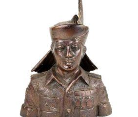 Golden Brass Indian Solider Statue  Gurkha Guard Bust