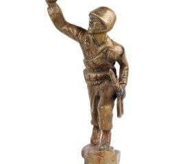 Brass soldier Statue Surging Forward For Attack In War
