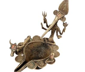 Dhokra Style Ganesha Nandi Brass Oil Lamp