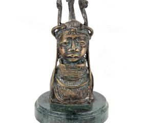 Brass Tribal Face Statue With Tribal Crown Bust On Green Round Base