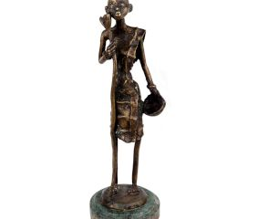 Brass Tribal Female Statue On Round Green Base