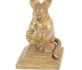 Brass Golden Rat Statue Sitting Holding Fruit