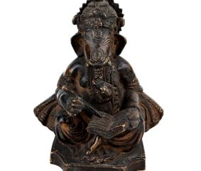 Brass Ganesha Statue Writing A Book