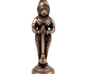 Brass Hanuman Idol Statue Standing Holding Mace