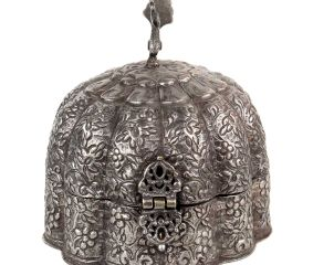 Copper Peacock  Dome Shaped Engraved Jewelry Box In Silver Finish