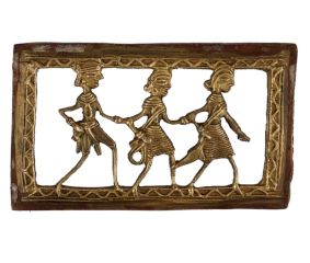Dhokra Wall Art Hanging  Of Fisherman's Family holding Fish And Net