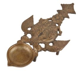 Brass Oil Lamp Deepak With Peacock Bird Handle