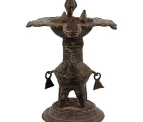 Brass Oil Lamp From Orissa Work Bird Figurines