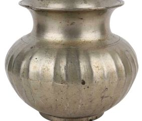 Brass Pot With Fluted Design Storage Pot With Silver Polish