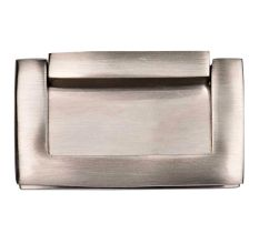 Brass Rectangular Flush Lift Handle knob In Brushed Silver Color