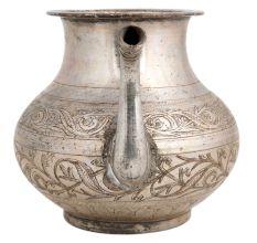 Brass Kamandal Pot With Spout Floral Decoration