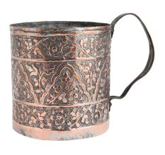 Copper Cup Floral Carved With Big  Handle