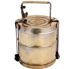 Brass Lunch Box Tiffin With A Thick Frame And Lock