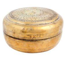 Old Round Brass Box Engraved Spices Storage Box