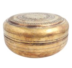 Engraved Round Brass Storage Box Chapatti Box