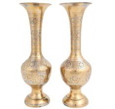 Brass Floral Carved Vase For  Flower Arrangement In Pair