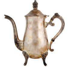 Brass Tea And Coffee Pot Three Legs Silver Nickel Polish