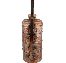 Copper Chapati Box Carved Four Container