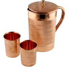 Large Copper Jug Pitcher With 2 Copper Glasses Drink ware Set