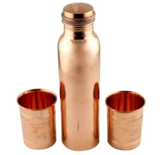 Pure Copper Water Bottle With 2 Copper Glasses Set