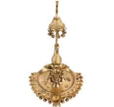 Exquisite Brass Peacock Many Diyas Hanging Bells Dancers Figurine