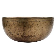 Golden Metal Singing Bowl Decorative Meditation Art