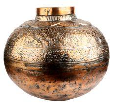 Copper Pot Planter Heavy Repousse Design
