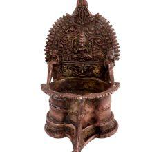 Ornate Brass Laxmi Oil Lamp Goddess Laxmi Motif And Two Elephants