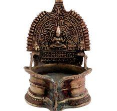 Golden Brass Gaja Laxmi Lakshmi Lamp