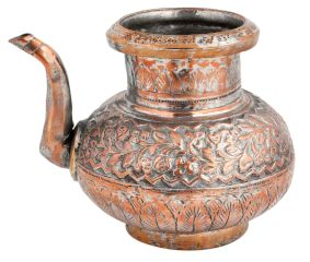 Copper Handmade Tea Pot Carved Design And Spout Kettle