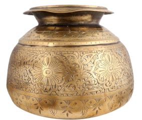 Brass Pot Round Carved Floral Deign Traditional Planter Pot