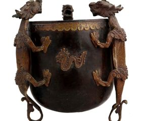 Brass Tibetan Pot With Dragon Figurines In Black