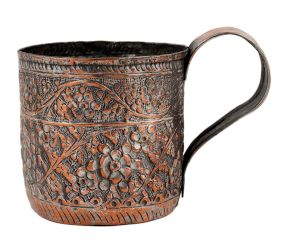 Copper Floral Repousse Cup Mug With Handle