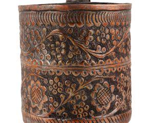 Copper Floral Repousse Cup Mug  Border Design With Handle