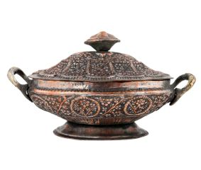 Carved Copper Dish With Handles And Lid