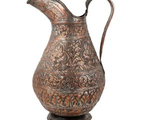 Copper Jug With Carved Flower And Leaved Design