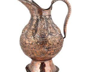 Hand Crafted Copper Jug Engraved Floral Design
