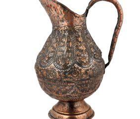 Copper Jug Or Pitcher Hand-Hammered Floral Design