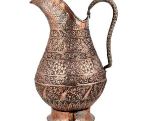 Copper Tinned Islamic Jug With Carved Flowers and Leaves