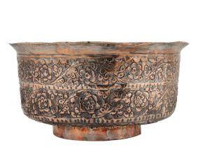 Copper Floral Repousse Bowl Showpiece