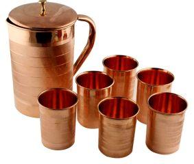Copper Jug Pitcher With 6 Copper Glasses Set