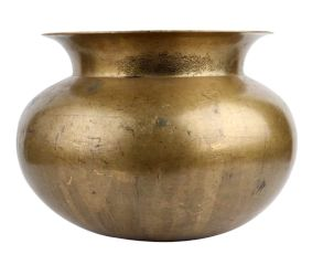 Golden Round Brass Water Pot Broad Mouth Decoration Pot