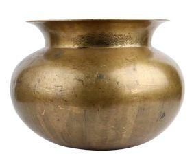 Golden Round Brass Water Pot Broad Mouth Decoration Pot