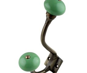 Pea Green Ceramic Antique Iron Hooks