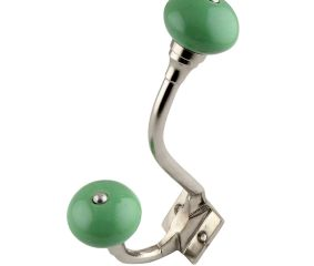 Pea Green Ceramic Silver Iron Hooks
