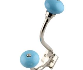Sky Blue Ceramic Silver Iron Hooks