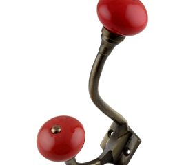 Solid Red Ceramic Antique Iron Hooks