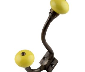 Solid Yellow Ceramic Antique Iron Hooks
